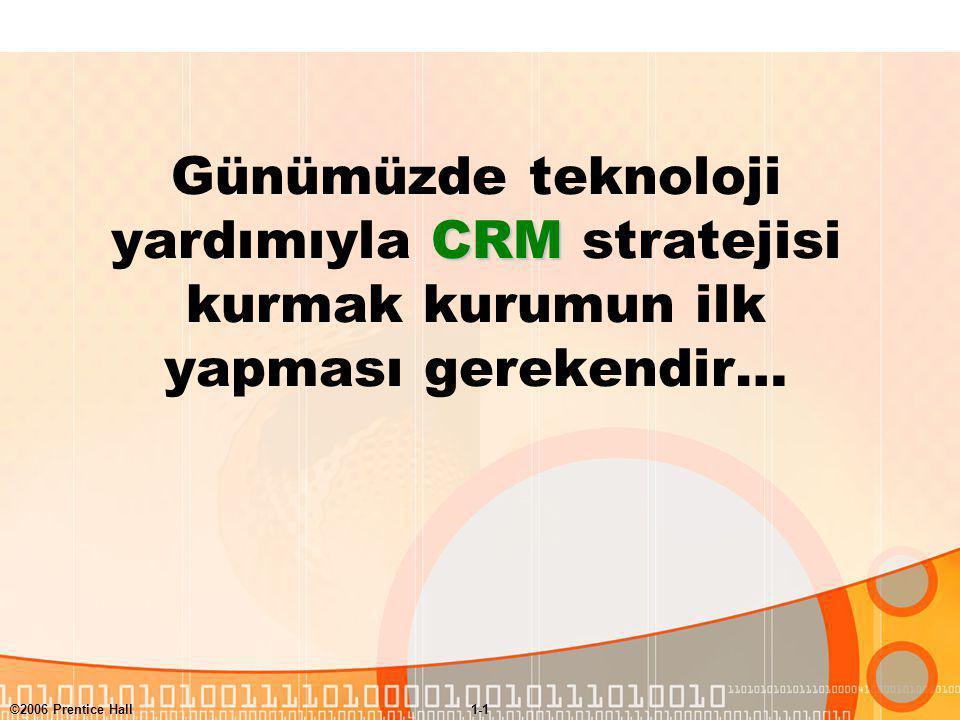 ©2006 Prentice Hall1-1 CRM Günümüzde teknoloji yardımıyla CRM stratejisi kurmak kurumun ilk yapması gerekendir…