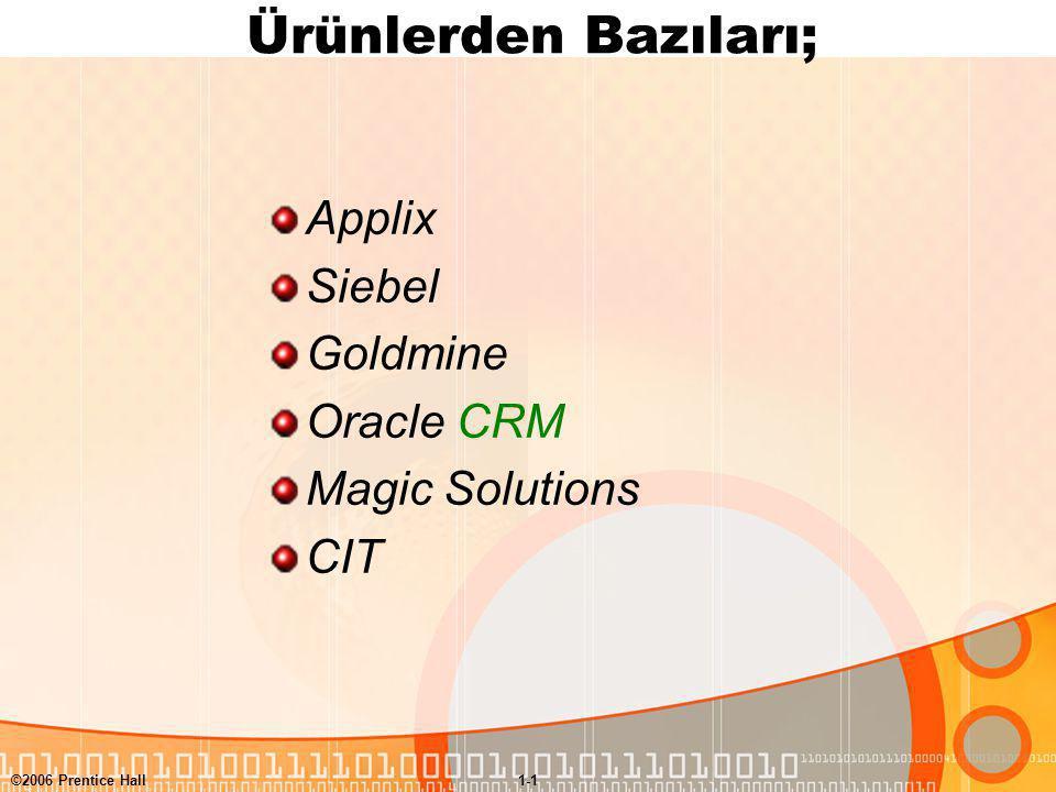 ©2006 Prentice Hall1-1 Ürünlerden Bazıları; Applix Siebel Goldmine Oracle CRM Magic Solutions CIT