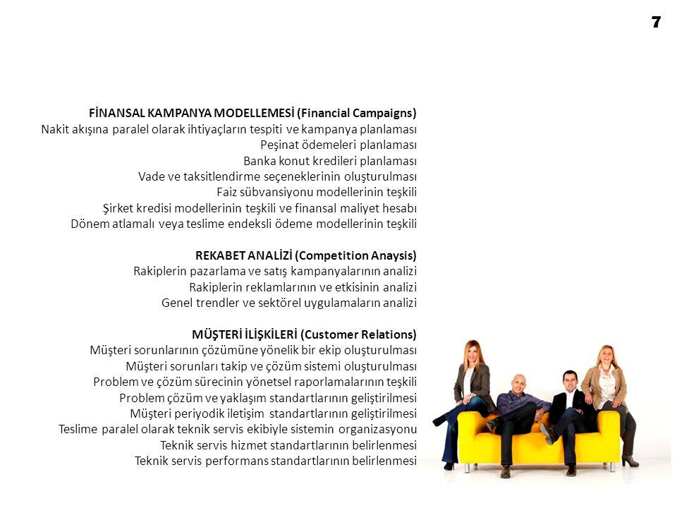 SİTE YÖNETİMİ (Facilities Management) Tesis hukuki yönetim planının teşkiline nezaret edilmesi Tesis içinde uyulması gereken kurallar ve yönetim politikalarının tespiti Müşterek tesislerin işletilmesine ilişkin prensiplerin teşkili Tesis yönetim ekibinin (veya şirketinin) oluşturulması Sosyal aktiviteler ve eğlencelere ilişkin politikaların tespiti SATIŞ MUHASEBESİ (Sales Accounting) Satış ve satış sonrasına ilişkin işleyiş prensiplerinin belirlenmesi Müşteri ödemeleri takip sisteminin oluşturulması Ödeme gecikme hukuki takip sisteminin kurulması Satış sözleşme ve dökümantasyon standartlarının teşkil edilmesi Müşteriye teslim edilecek evraklar listesinin teşkili Arşivlenecek evraklar listesinin oluşturulması Günlük satış raporlama ve satış muhasebesi mutabakat prensiplerinin oluşturulması Banka kredileri açılışları takip sisteminin teşkili Nakit tahsilat ve transferine dair poltikaların belirlenmesi Kimlik kontrolü ve imzalara dair politikaların belirlenmesi 8