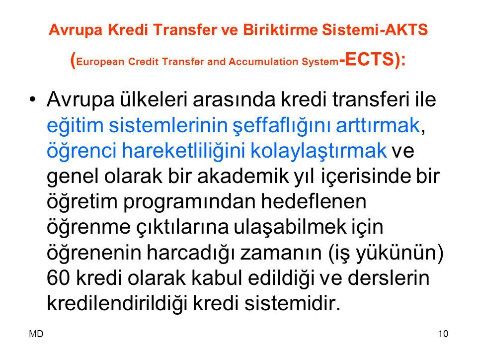 MD10 Avrupa Kredi Transfer ve Biriktirme Sistemi-AKTS ( European Credit Transfer and Accumulation System -ECTS): •Avrupa ülkeleri arasında kredi trans