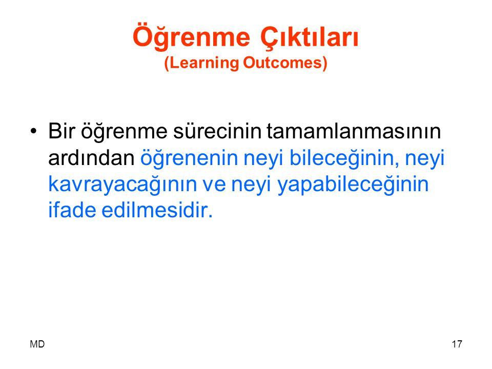 MD17 Öğrenme Çıktıları (Learning Outcomes) •Bir öğrenme sürecinin tamamlanmasının ardından öğrenenin neyi bileceğinin, neyi kavrayacağının ve neyi yap