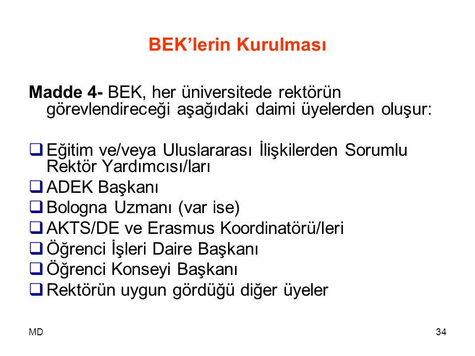 MD34 BEK'lerin Kurulması Madde 4- BEK, her üniversitede rektörün görevlendireceği aşağıdaki daimi üyelerden oluşur:  Eğitim ve/veya Uluslararası İliş