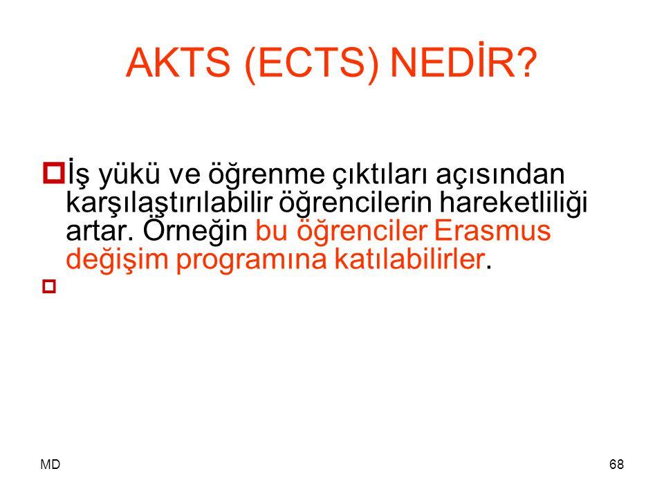 MD68 AKTS (ECTS) NEDİR?  İş yükü ve öğrenme çıktıları açısından karşılaştırılabilir öğrencilerin hareketliliği artar. Örneğin bu öğrenciler Erasmus d
