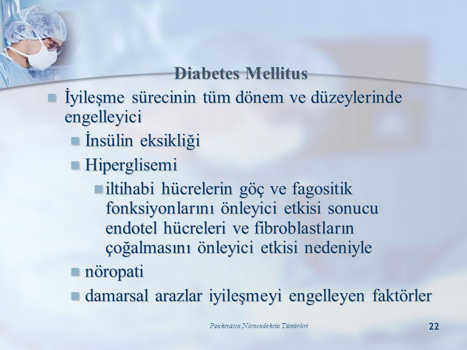 Pankreasın Nöroendokrin Tümörleri 22 Diabetes Mellitus  İyileşme sürecinin tüm dönem ve düzeylerinde engelleyici  İnsülin eksikliği  Hiperglisemi 