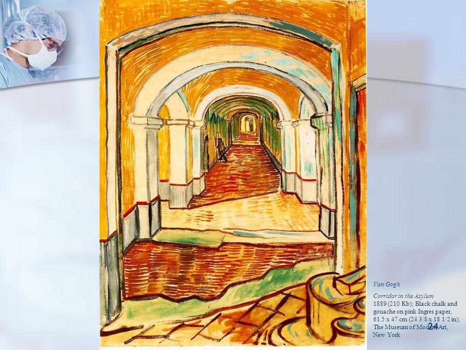 Pankreasın Nöroendokrin Tümörleri 24 Van Gogh Corridor in the Asylum 1889 (210 Kb); Black chalk and gouache on pink Ingres paper, 61.5 x 47 cm (24 3/8