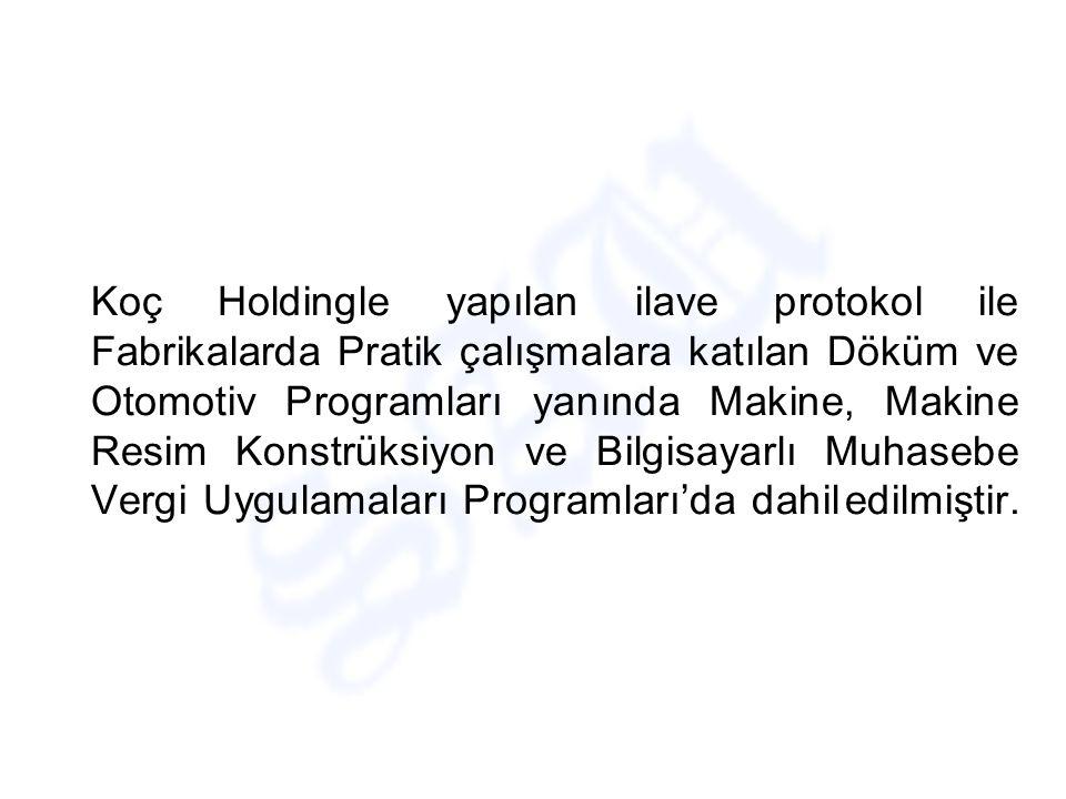 Protokoller gereği Yüksekokulumuzda Otomotiv, Döküm, Kalıpçılık, Makine, Makine Resim Konstrüksiyon, Elektrik,İşletmecilik, Bilgisayarlı Muhasebe Vergi Uygulamaları ile Turizm ve Otelcilik Programları Okul – Sanayi işbirliği ile ilgili pratik çalışma kapsamına alınmıştır.