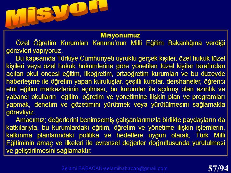57/94 Misyonumuz Özel Öğretim Kurumları Kanunu'nun Milli Eğitim Bakanlığına verdiği görevleri yapıyoruz. Bu kapsamda Türkiye Cumhuriyeti uyruklu gerçe