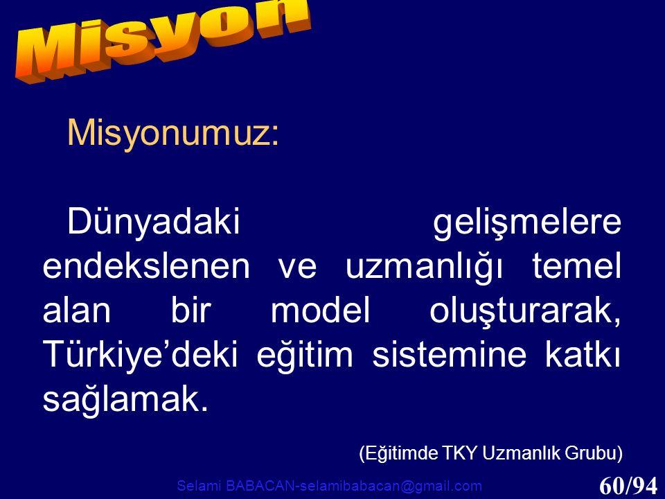 60/94 Misyonumuz: Dünyadaki gelişmelere endekslenen ve uzmanlığı temel alan bir model oluşturarak, Türkiye'deki eğitim sistemine katkı sağlamak. (Eğit