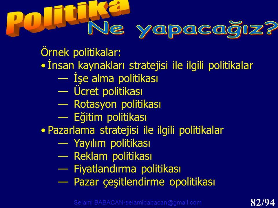 82/94 Örnek politikalar: •İnsan kaynakları stratejisi ile ilgili politikalar —İşe alma politikası —Ücret politikası —Rotasyon politikası —Eğitim polit