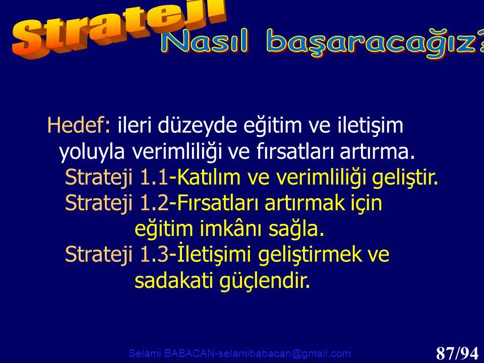 87/94 Hedef: ileri düzeyde eğitim ve iletişim yoluyla verimliliği ve fırsatları artırma. Strateji 1.1-Katılım ve verimliliği geliştir. Strateji 1.2-Fı