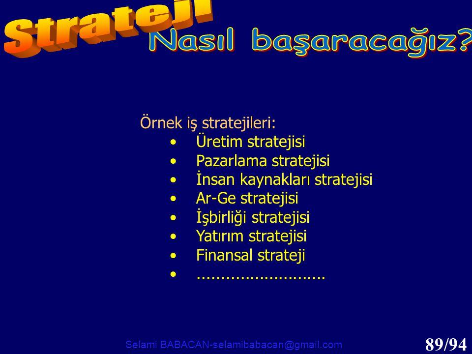89/94 Örnek iş stratejileri: •Üretim stratejisi •Pazarlama stratejisi •İnsan kaynakları stratejisi •Ar-Ge stratejisi •İşbirliği stratejisi •Yatırım st