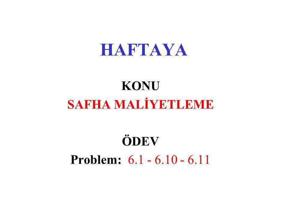 HAFTAYA KONU SAFHA MALİYETLEME ÖDEV Problem: 6.1 - 6.10 - 6.11