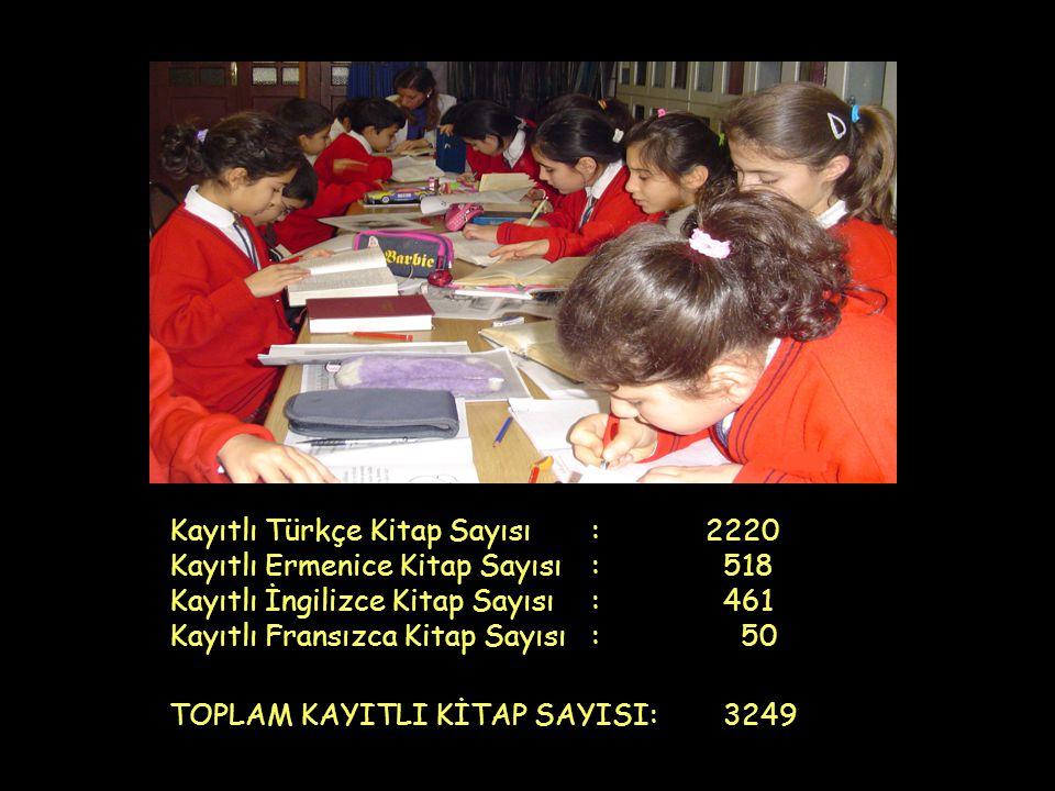 Kayıtlı Türkçe Kitap Sayısı: 2220 Kayıtlı Ermenice Kitap Sayısı: 518 Kayıtlı İngilizce Kitap Sayısı : 461 Kayıtlı Fransızca Kitap Sayısı: 50 TOPLAM KA