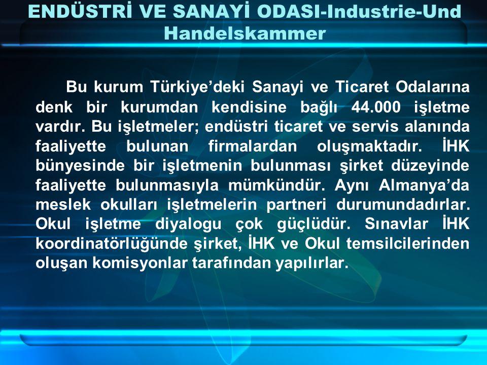 ENDÜSTRİ VE SANAYİ ODASI-Industrie-Und Handelskammer Bu kurum Türkiye'deki Sanayi ve Ticaret Odalarına denk bir kurumdan kendisine bağlı 44.000 işletme vardır.
