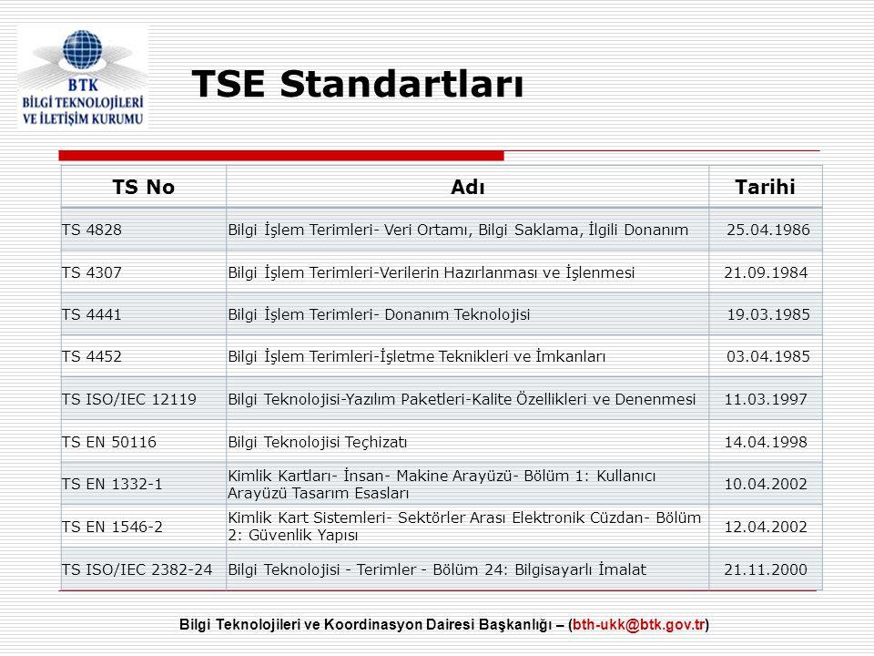 Bilgi Teknolojileri ve Koordinasyon Dairesi Başkanlığı – (bth-ukk@btk.gov.tr) TSE Standartları TS NoAdıTarihi TS 4828Bilgi İşlem Terimleri- Veri Ortam