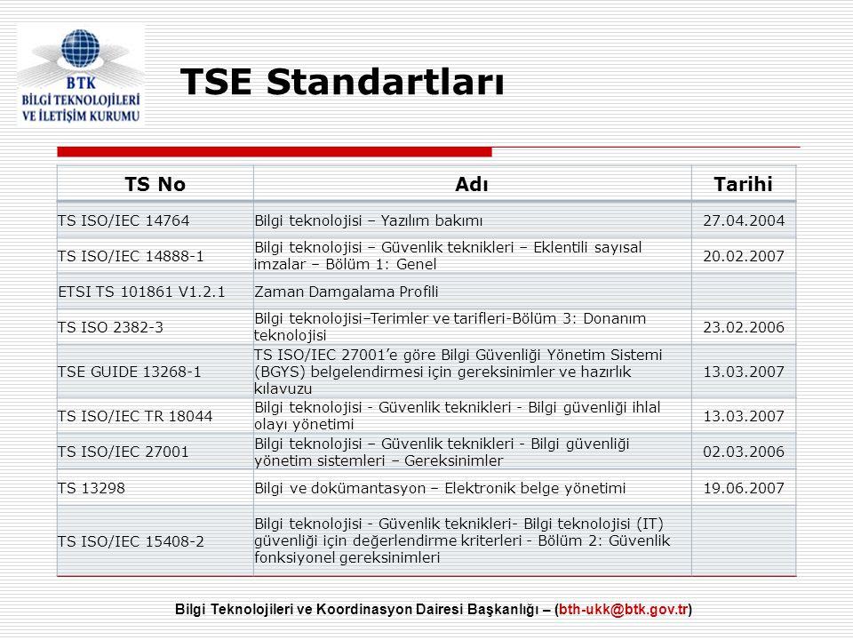 Bilgi Teknolojileri ve Koordinasyon Dairesi Başkanlığı – (bth-ukk@btk.gov.tr) TS NoAdıTarihi TS ISO/IEC 14764Bilgi teknolojisi – Yazılım bakımı27.04.2