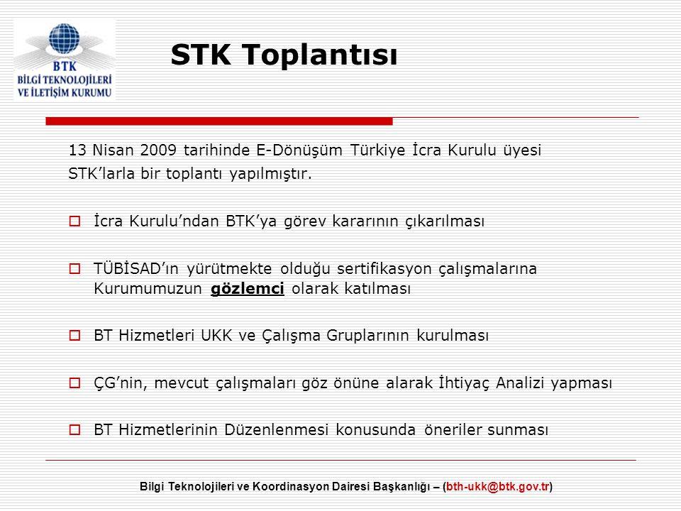 Bilgi Teknolojileri ve Koordinasyon Dairesi Başkanlığı – (bth-ukk@btk.gov.tr) 13 Nisan 2009 tarihinde E-Dönüşüm Türkiye İcra Kurulu üyesi STK'larla bi