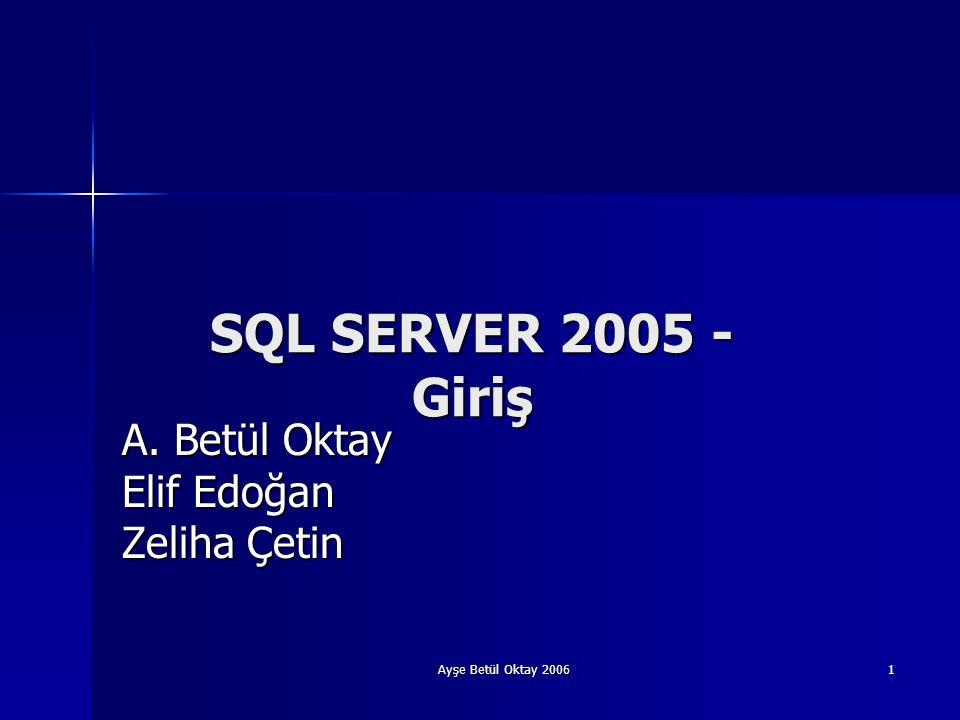 Ayşe Betül Oktay 2006 1 SQL SERVER 2005 - Giriş A. Betül Oktay Elif Edoğan Zeliha Çetin