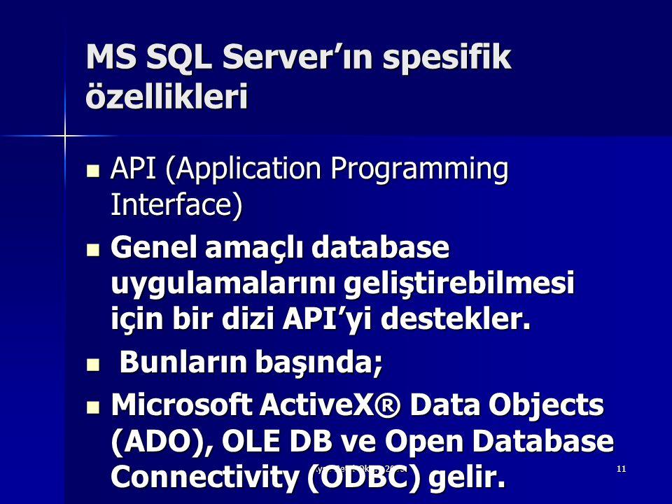 Ayşe Betül Oktay 200611 MS SQL Server'ın spesifik özellikleri  API (Application Programming Interface)  Genel amaçlı database uygulamalarını gelişti