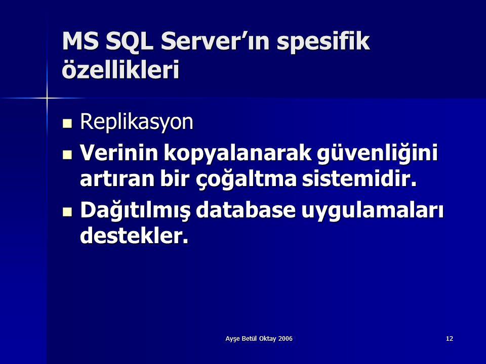 Ayşe Betül Oktay 200612 MS SQL Server'ın spesifik özellikleri  Replikasyon  Verinin kopyalanarak güvenliğini artıran bir çoğaltma sistemidir.  Dağı