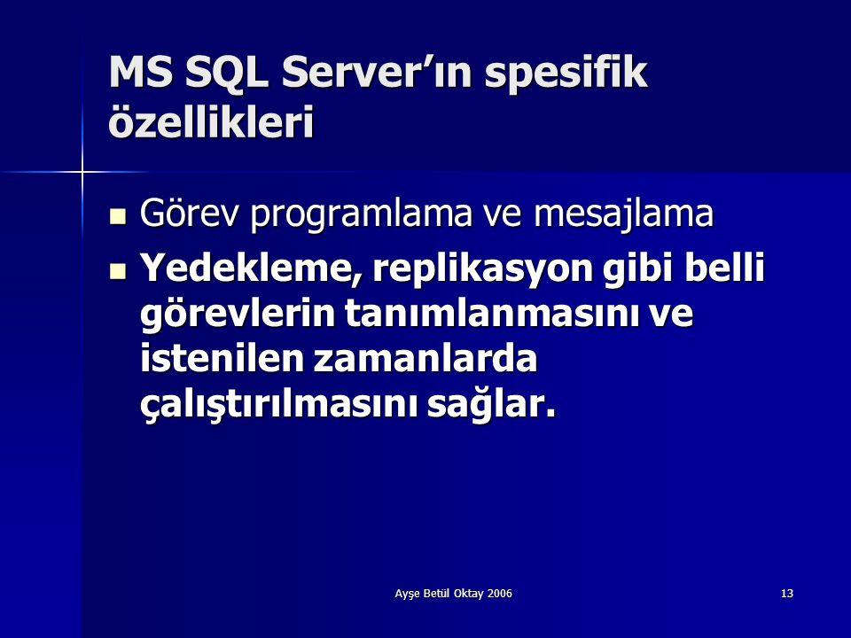Ayşe Betül Oktay 200613 MS SQL Server'ın spesifik özellikleri  Görev programlama ve mesajlama  Yedekleme, replikasyon gibi belli görevlerin tanımlan