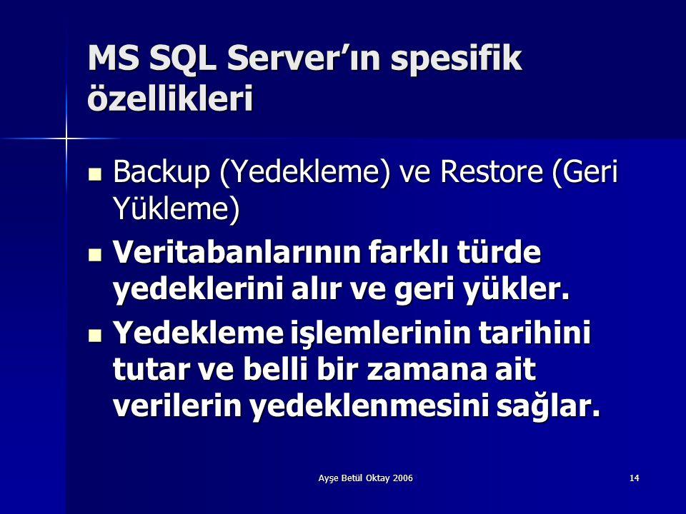 Ayşe Betül Oktay 200614 MS SQL Server'ın spesifik özellikleri  Backup (Yedekleme) ve Restore (Geri Yükleme)  Veritabanlarının farklı türde yedekleri