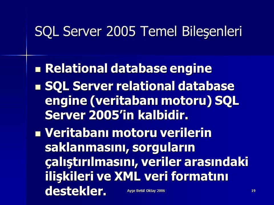 Ayşe Betül Oktay 200619 SQL Server 2005 Temel Bileşenleri  Relational database engine  SQL Server relational database engine (veritabanı motoru) SQL