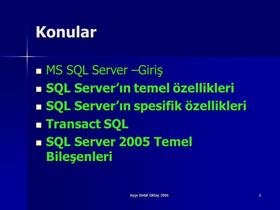 Ayşe Betül Oktay 20062 Konular  MS SQL Server –Giriş  SQL Server'ın temel özellikleri  SQL Server'ın spesifik özellikleri  Transact SQL  SQL Serv