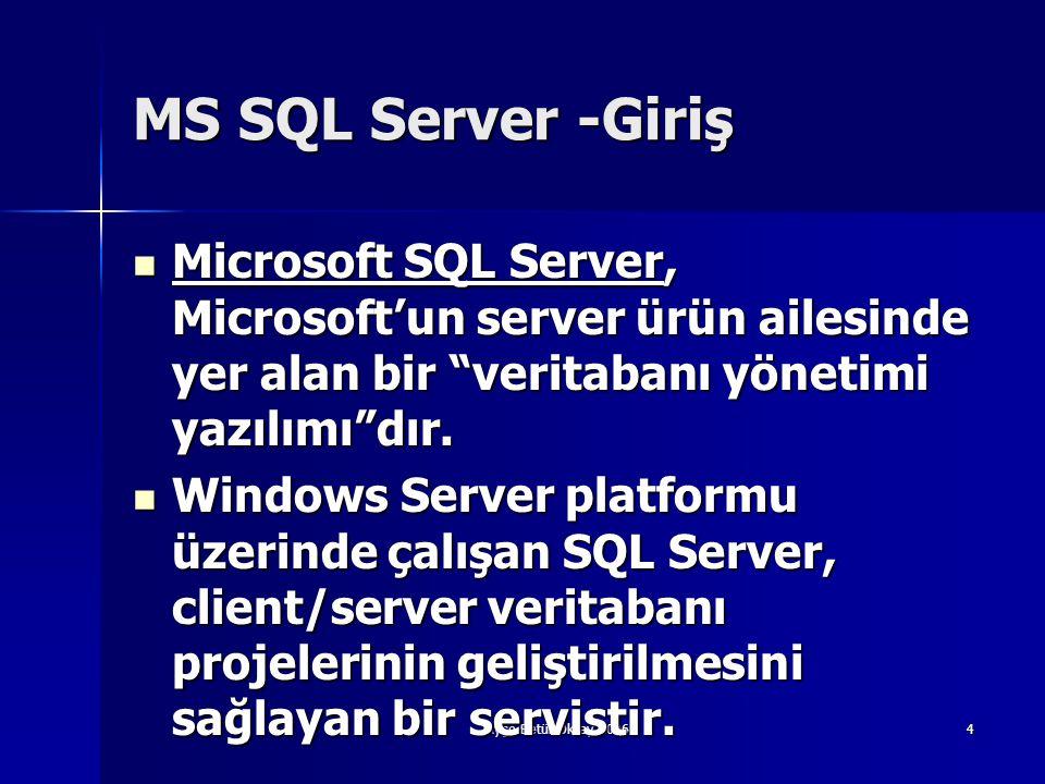 """Ayşe Betül Oktay 20064 MS SQL Server -Giriş  Microsoft SQL Server, Microsoft'un server ürün ailesinde yer alan bir """"veritabanı yönetimi yazılımı""""dır."""