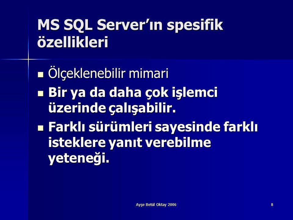 Ayşe Betül Oktay 20068 MS SQL Server'ın spesifik özellikleri  Ölçeklenebilir mimari  Bir ya da daha çok işlemci üzerinde çalışabilir.  Farklı sürüm