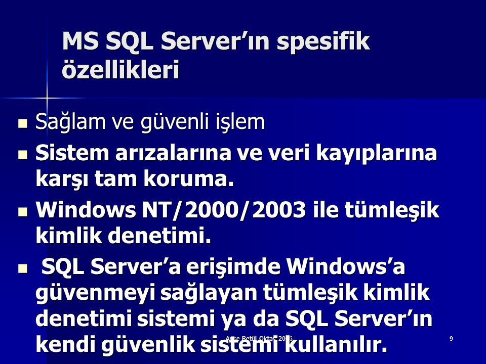 Ayşe Betül Oktay 20069 MS SQL Server'ın spesifik özellikleri  Sağlam ve güvenli işlem  Sistem arızalarına ve veri kayıplarına karşı tam koruma.  Wi