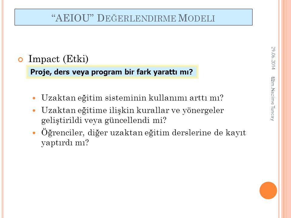 """10 """"AEIOU"""" D EĞERLENDIRME M ODELI Impact (Etki)  Uzaktan eğitim sisteminin kullanımı arttı mı?  Uzaktan eğitime ilişkin kurallar ve yönergeler geliş"""