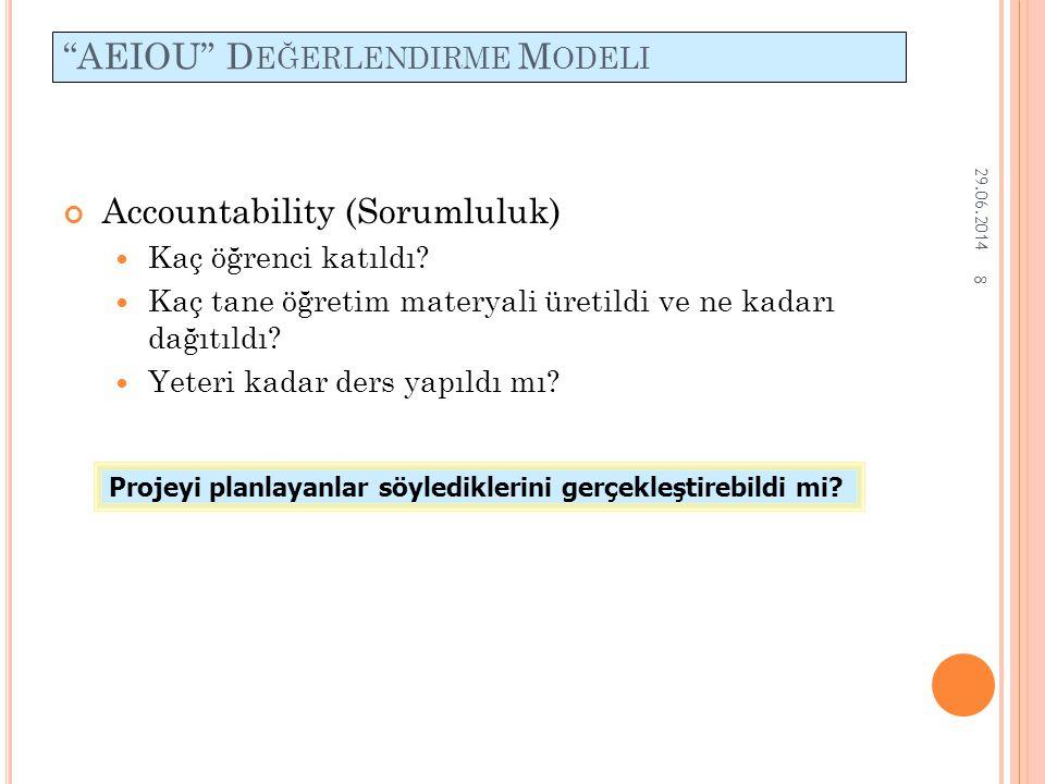 """8 """"AEIOU"""" D EĞERLENDIRME M ODELI Accountability (Sorumluluk)  Kaç öğrenci katıldı?  Kaç tane öğretim materyali üretildi ve ne kadarı dağıtıldı?  Ye"""