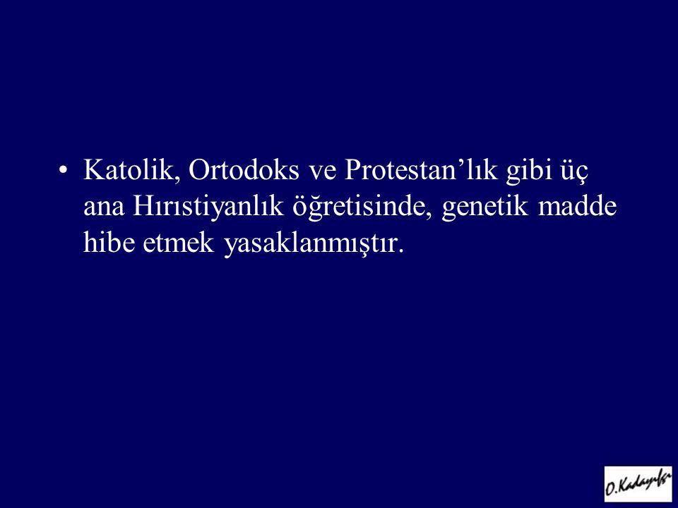 •Katolik, Ortodoks ve Protestan'lık gibi üç ana Hırıstiyanlık öğretisinde, genetik madde hibe etmek yasaklanmıştır.