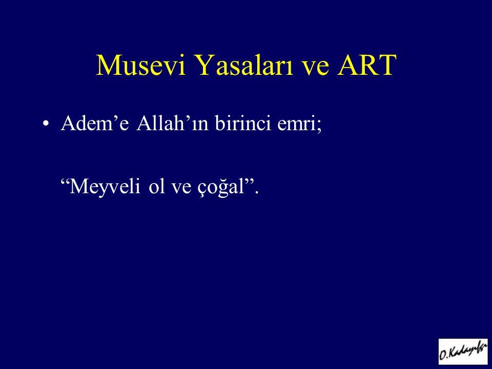 """Musevi Yasaları ve ART •Adem'e Allah'ın birinci emri; """"Meyveli ol ve çoğal""""."""
