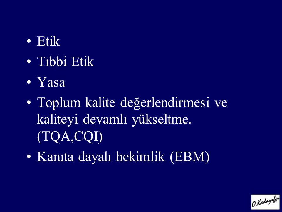 •Etik •Tıbbi Etik •Yasa •Toplum kalite değerlendirmesi ve kaliteyi devamlı yükseltme. (TQA,CQI) •Kanıta dayalı hekimlik (EBM)
