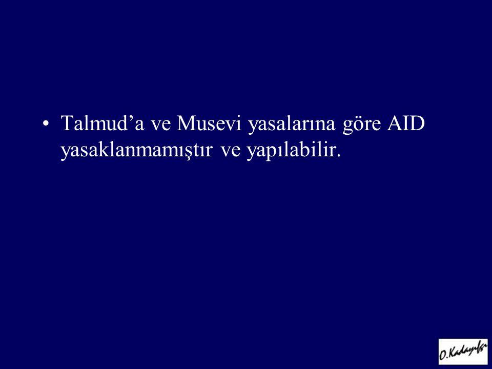 •Talmud'a ve Musevi yasalarına göre AID yasaklanmamıştır ve yapılabilir.