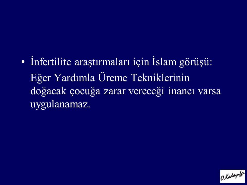 •İnfertilite araştırmaları için İslam görüşü: Eğer Yardımla Üreme Tekniklerinin doğacak çocuğa zarar vereceği inancı varsa uygulanamaz.