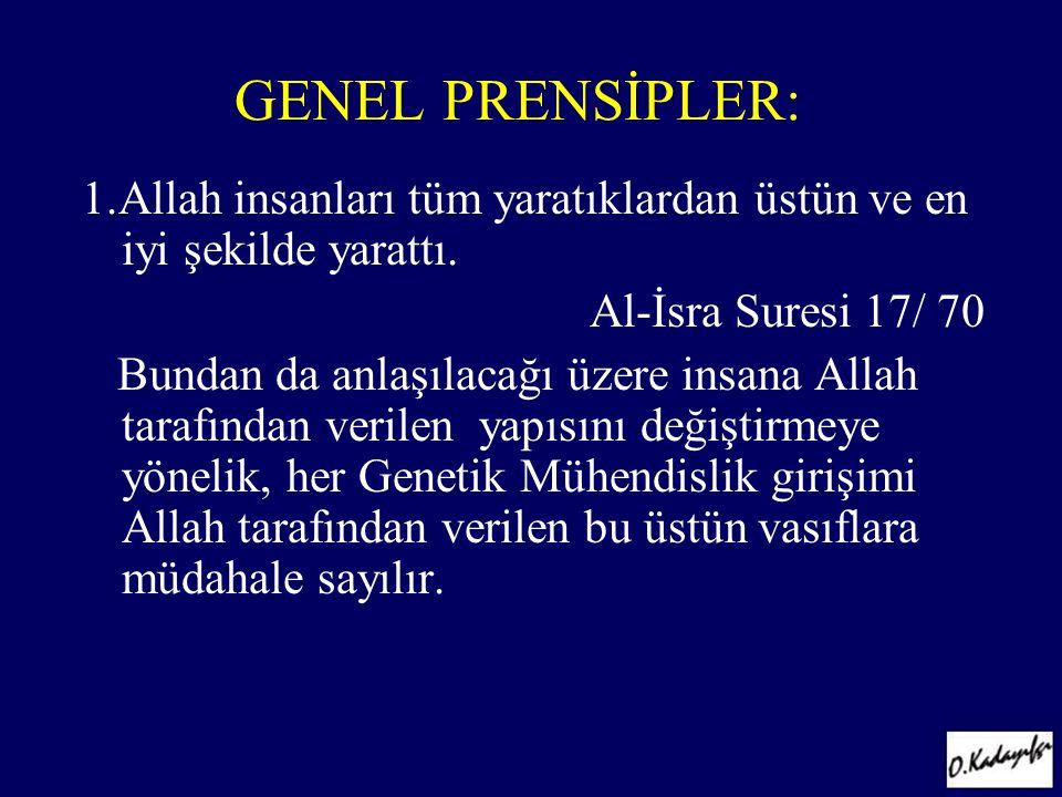 GENEL PRENSİPLER: 1.Allah insanları tüm yaratıklardan üstün ve en iyi şekilde yarattı. Al-İsra Suresi 17/ 70 Bundan da anlaşılacağı üzere insana Allah
