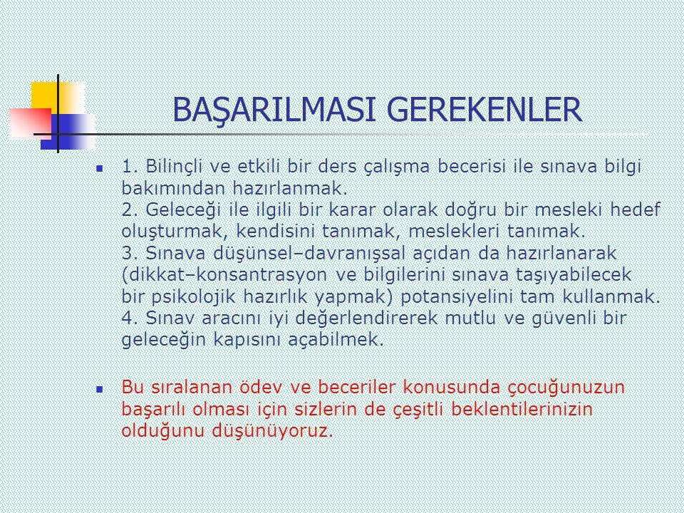 BAŞARILMASI GEREKENLER  1.