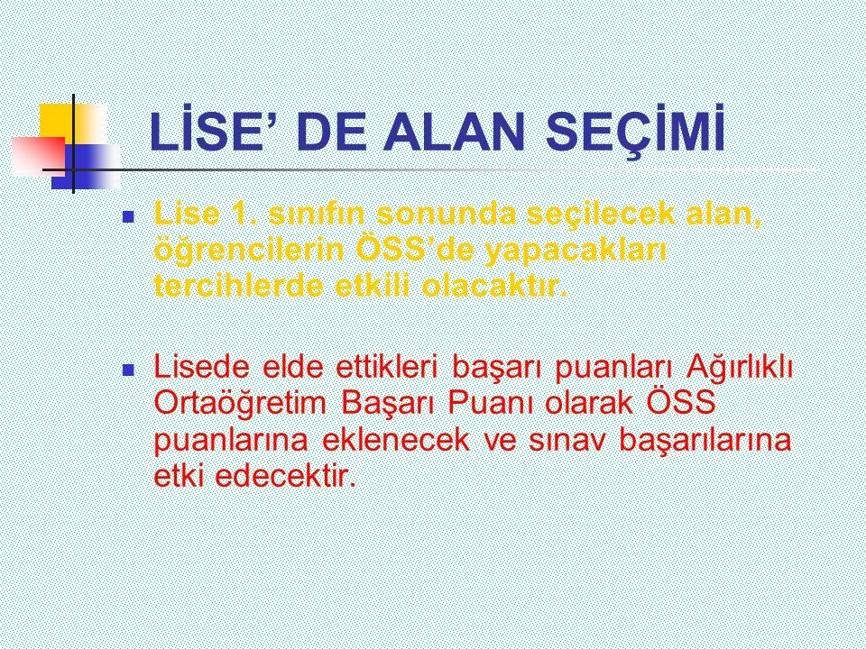 LİSE' DE ALAN SEÇİMİ  Lise 1.