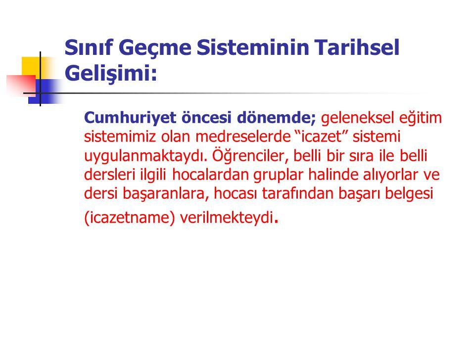 Cumhuriyet döneminin 1923-1926 yılları arasındaki dönemde; 1923 yılında yayınlanan Sultani Mektepler Talimatnamesi ne göre; her yıl her sınıf için, üçer ay ara ile bir sözlü,iki yazılı imtihan yapılmakta idi.
