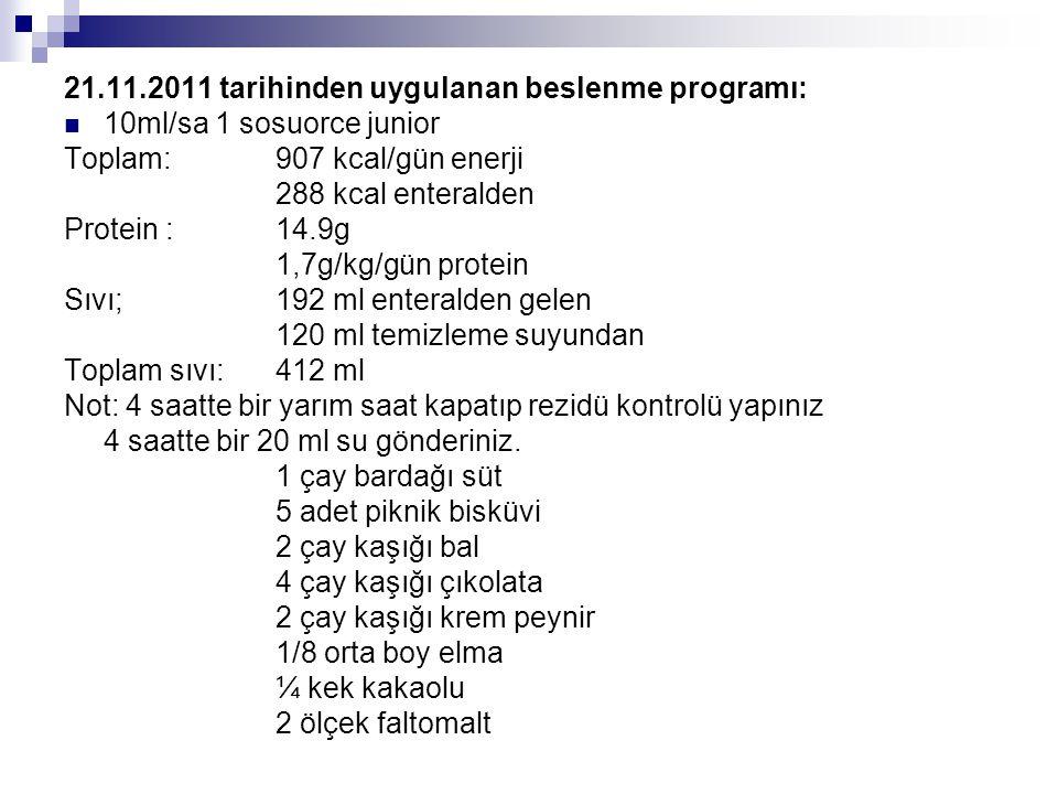 21.11.2011 tarihinden uygulanan beslenme programı:  10ml/sa 1 sosuorce junior Toplam: 907 kcal/gün enerji 288 kcal enteralden Protein :14.9g 1,7g/kg/