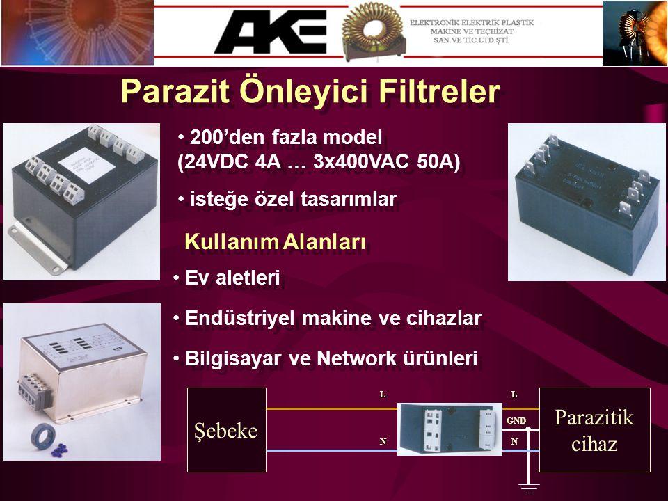 Parazit Önleyici Filtreler • 200'den fazla model (24VDC 4A … 3x400VAC 50A) • 200'den fazla model (24VDC 4A … 3x400VAC 50A) • isteğe özel tasarımlar GN