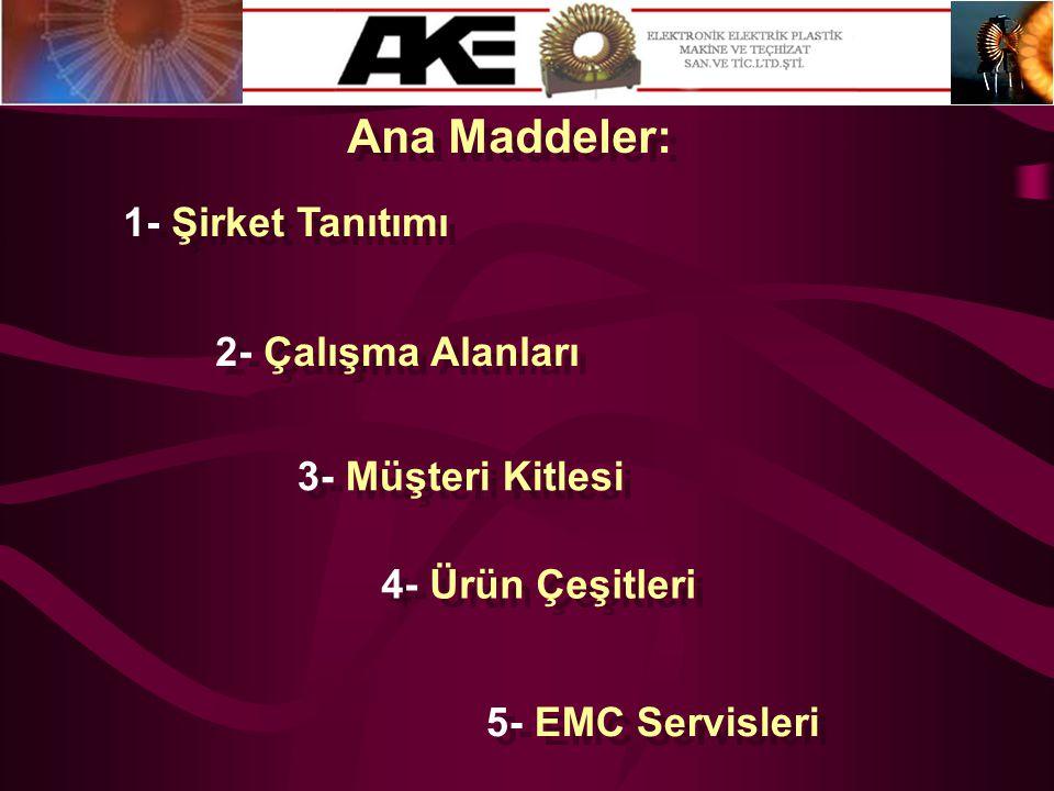 Ana Maddeler: 1- Şirket Tanıtımı 2- Çalışma Alanları 3- Müşteri Kitlesi 4- Ürün Çeşitleri 5- EMC Servisleri