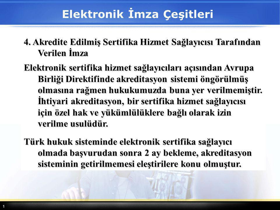 1 4. Akredite Edilmiş Sertifika Hizmet Sağlayıcısı Tarafından Verilen İmza Elektronik sertifika hizmet sağlayıcıları açısından Avrupa Birliği Direktif