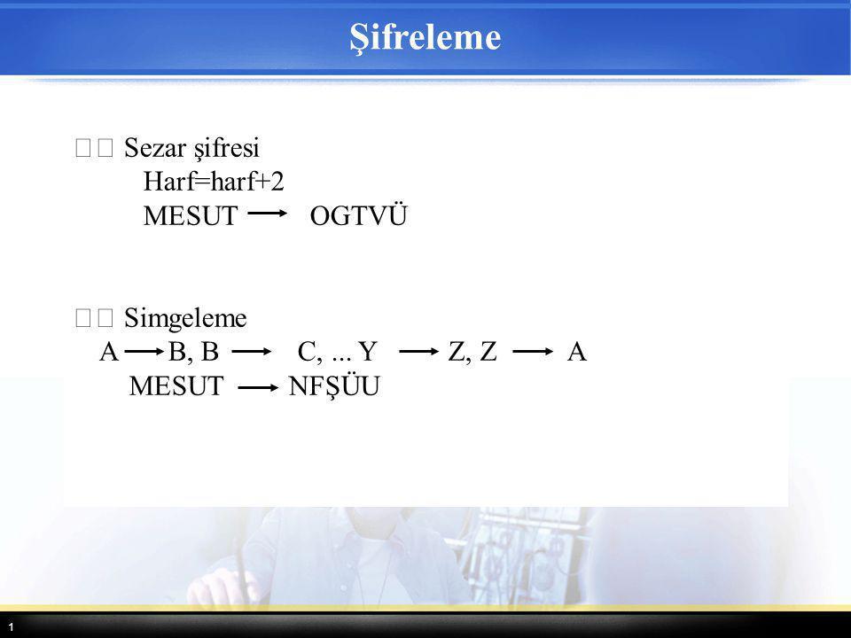 1 Şifreleme Sezar şifresi Harf=harf+2 MESUT OGTVÜ Simgeleme A B, B C,... Y Z, Z A MESUT NFŞÜU