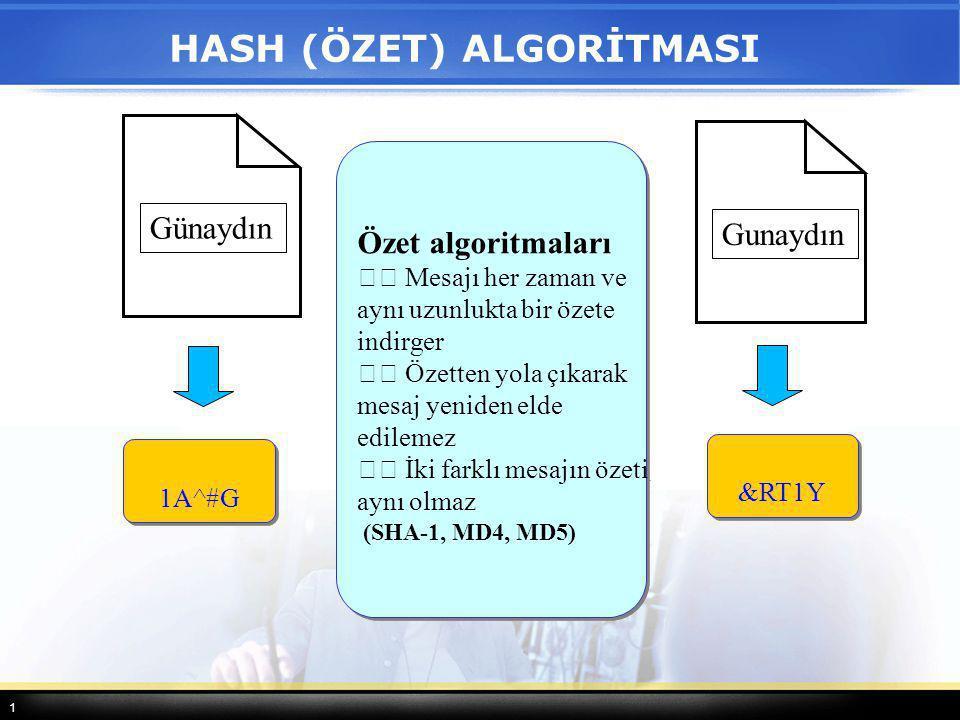 1 HASH (ÖZET) ALGORİTMASI Gunaydın &RT1Y Günaydın 1A^#G Özet algoritmaları Mesajı her zaman ve aynı uzunlukta bir özete indirger Özetten yola çıkarak