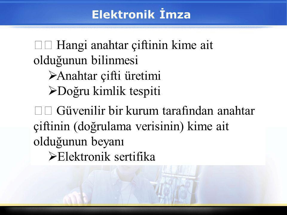 1 Elektronik İmza Hangi anahtar çiftinin kime ait olduğunun bilinmesi  Anahtar çifti üretimi  Doğru kimlik tespiti Güvenilir bir kurum tarafından an