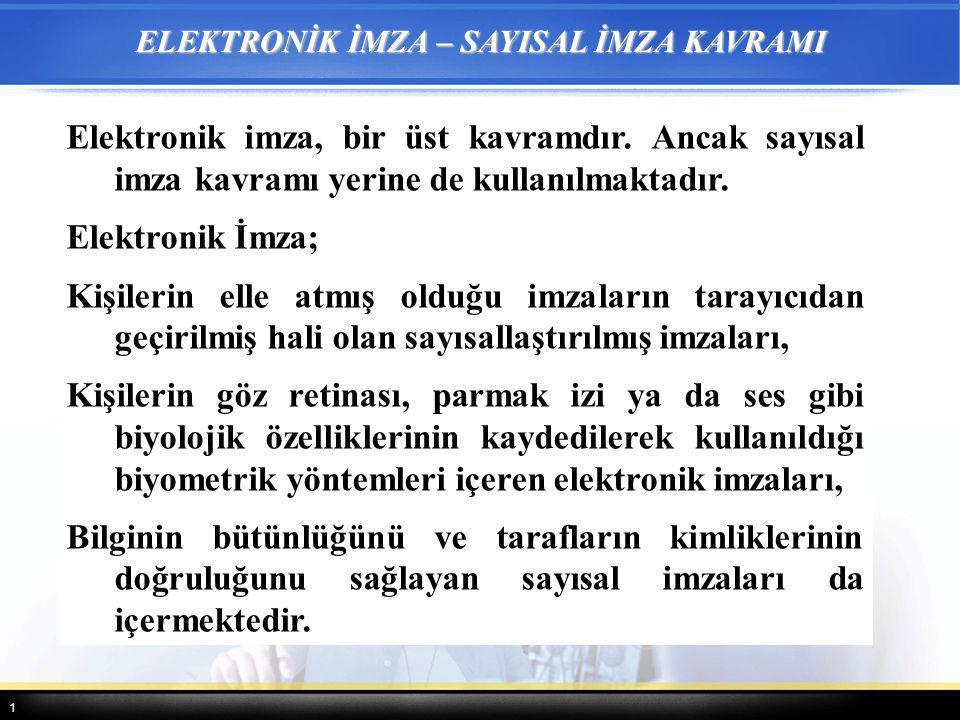 1 ELEKTRONİK İMZA – SAYISAL İMZA KAVRAMI Elektronik imza, bir üst kavramdır. Ancak sayısal imza kavramı yerine de kullanılmaktadır. Elektronik İmza; K
